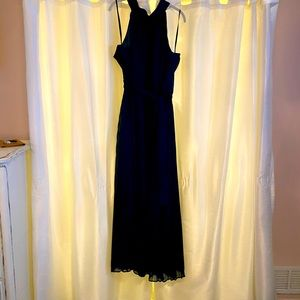 Halter Neck Pleated Maxi Dress